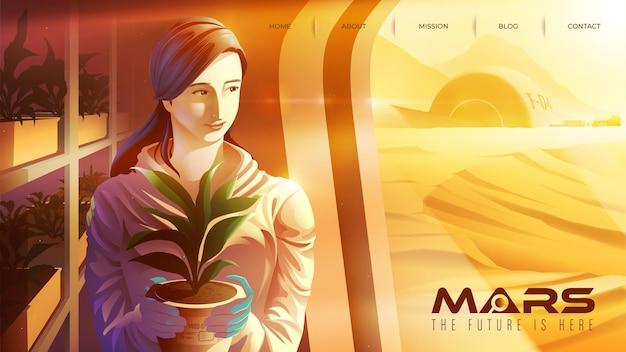 Векторная иллюстрация с изображением азиатской женщины-ученого улыбается и работает в центре плантаций на марсе