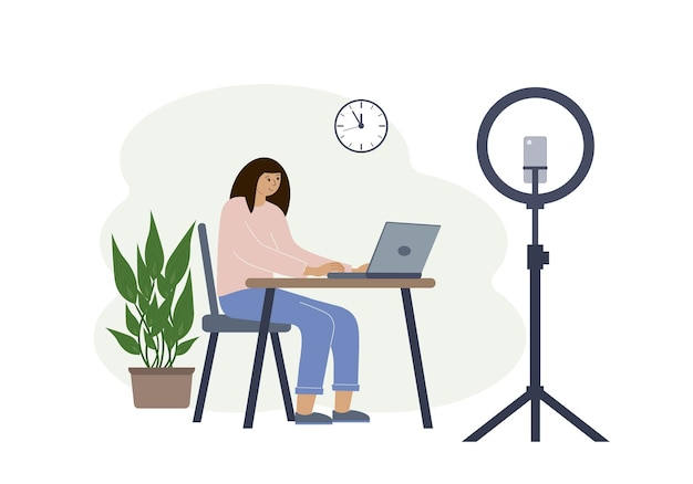 Vector illustration of a female blogger at the table with a laptop. online filming of a training course or blog