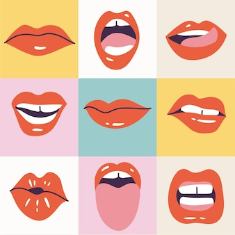 Vector illustration female mouths. red lipstick. various of mimic, emotions, facial expressions. poster for print.