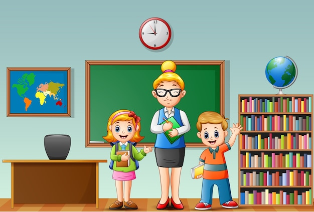 Vector illustration of a female teacher with students in a classroom