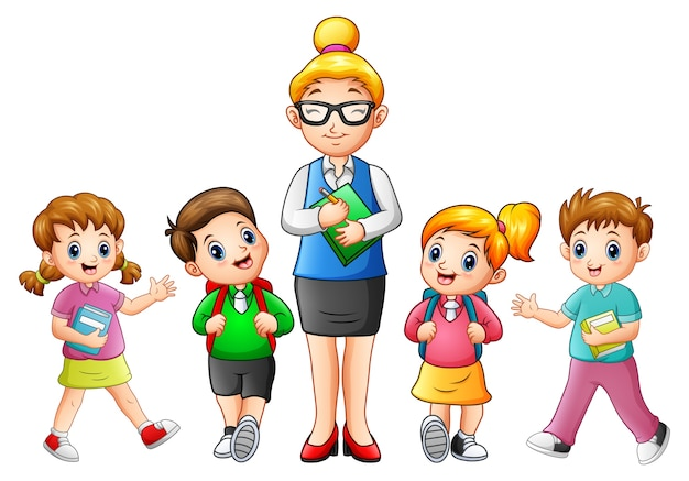 Vector illustration of a female teacher with students
