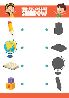 Vector illustration of finding correct shadow exercise