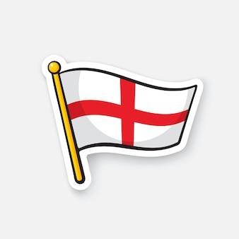 Векторная иллюстрация флаг англии на флагштоке символ местоположения для путешественников