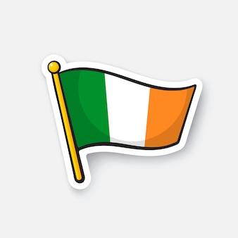 Векторная иллюстрация флаг ирландии на флагштоке символ местоположения для путешественников мультфильм наклейка