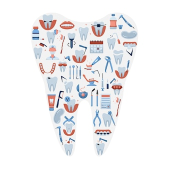 Vector illustration of flat dentistry icons in a tooth shape