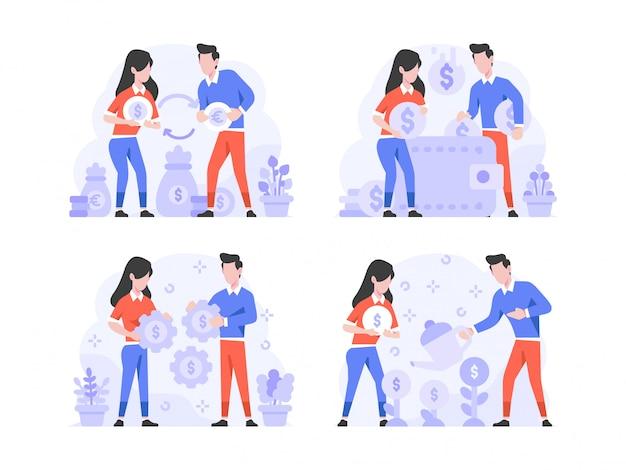 Векторная иллюстрация плоский стиль дизайна, мужчина и женщина делают менял, доллар в евро, экономия денег на кошельке, стратегия установки денег, рост денег