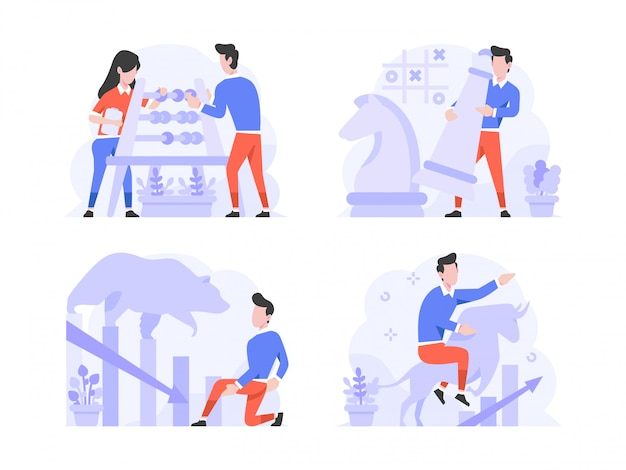 Vector illustration flat design style, man and woman doing calculation with abacus, chess strategy, bear market, bull trend, increase, decrease
