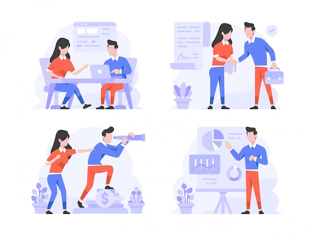 Vector illustration flat design style, man and woman doing discussion of meeting, deal agreement, seeing company vision, presentation