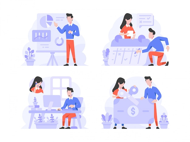 Vector illustration flat design style, man and woman doing presentation, scheduling with calendar, customer service call, and tax cutting