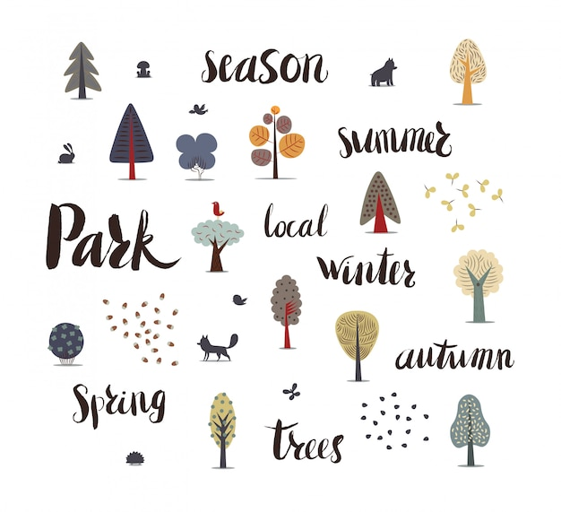 The vector illustration of flat forest elements
