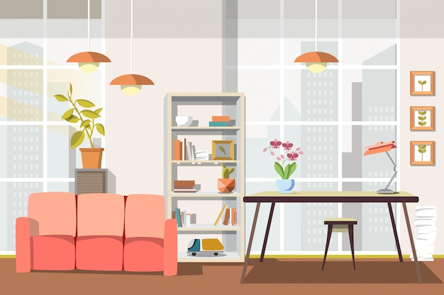 Vector illustration flat interior living room.