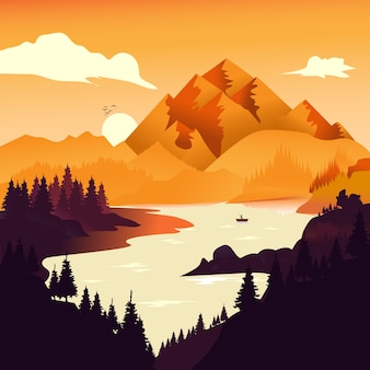 Vector illustration : flat landscape background