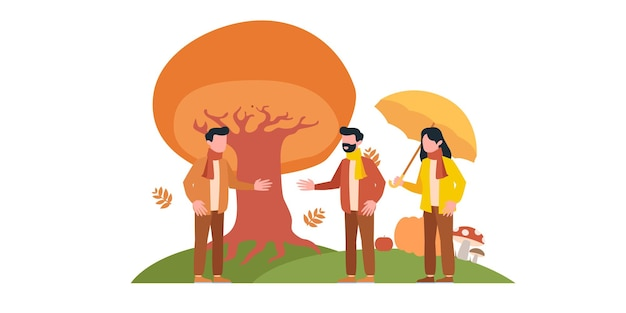Vector illustration in flat linear style - autumn background