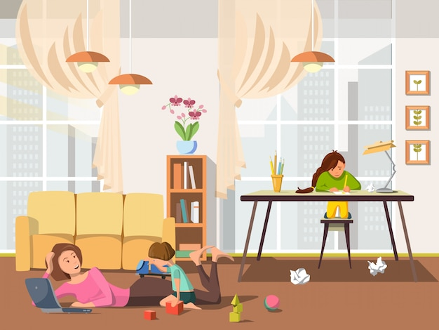 Vector illustration flat mom with baby plays game.