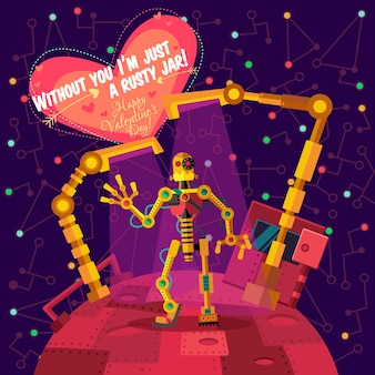 Vector illustration in flat style about robot