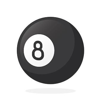 Vector illustration in flat style black billiard ball number eight sports equipment