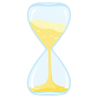 Vector illustration of flat style cartoon design closeup colored time icon - hourglass isolated on white background.