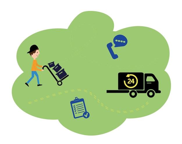 벡터 일러스트 레이 션, 평면 스타일, 배달 서비스, 트럭 운송, 운송 광고. 직원이 카트에 실린 상품을 트럭으로 배달합니다.