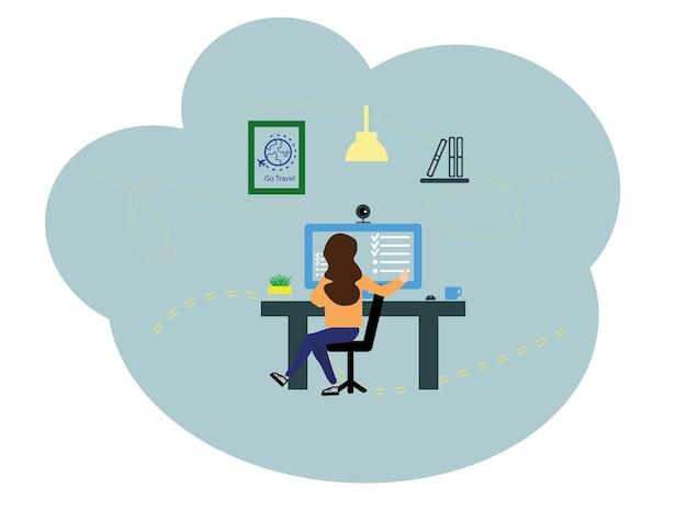 ベクトルイラスト、フラットスタイル。職場での女の子のオンラインアシスタント、ネットワークでの昇進、リモートワークでのマネージャー。女性はコンピューターの後ろで働いています。