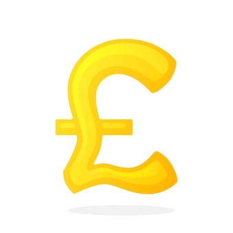Vector illustration in flat style golden sign of pound the symbol of world currencies