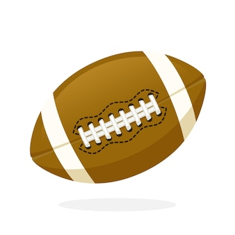 Vector illustration in flat style leather american football or rugby ball sports equipment