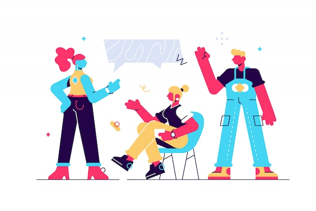 Vector illustration, flat style, news, company people support dialogue, communicate.