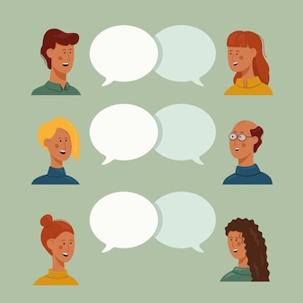 Vector illustration flat style people talk 6 people male and female with thoughts together