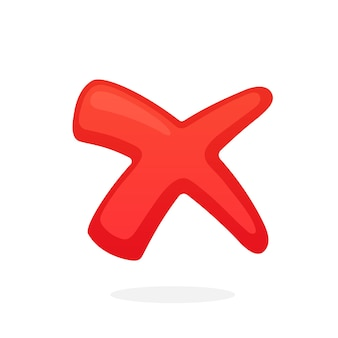 Vector illustration in flat style red cross check mark for indicate wrong choice