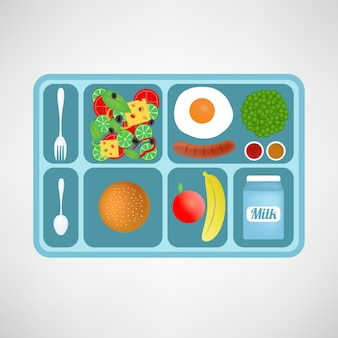 벡터 일러스트입니다. 플랫 스타일. 학교 점심. 학생들을위한 건강 식품.