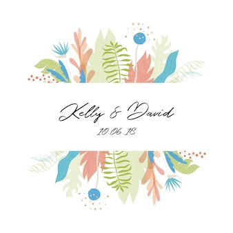 Vector illustration of floral greeting card template design with place for your text. jungle plant