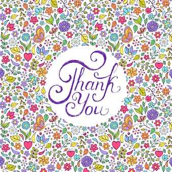 Vector illustration of floral thank you card design