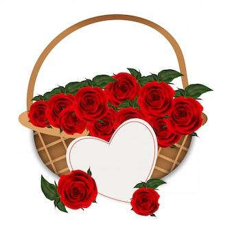 Vector illustration of flower basket full of rose flowers.