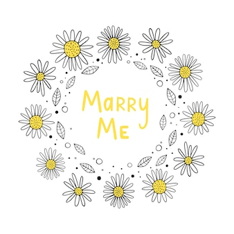 Vector illustration of flower frame. marry me. scandinavian motives.