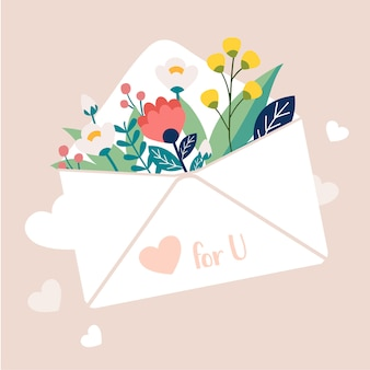 A vector illustration of flower in the letter mail. bouquet of flower in the white mail