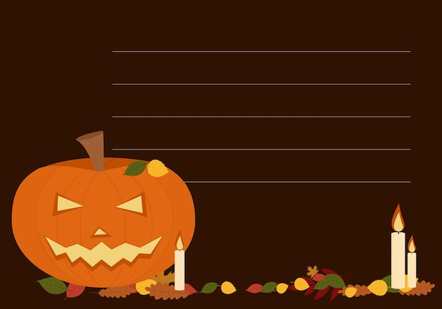 Vector illustration of flyers for the celebration of halloween. with pumpkins candles and fall foliage