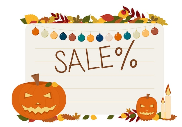 Vector illustration of flyers for the celebration of halloween. with pumpkins candles and text sale