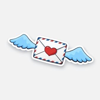 ベクトルイラスト空飛ぶ閉じた封筒ワックスハートハートと翼着信メッセージを読んでいない