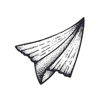 Векторная иллюстрация летающий бумажный самолетик путешествие на самолете ручной обращается эскиз чернил