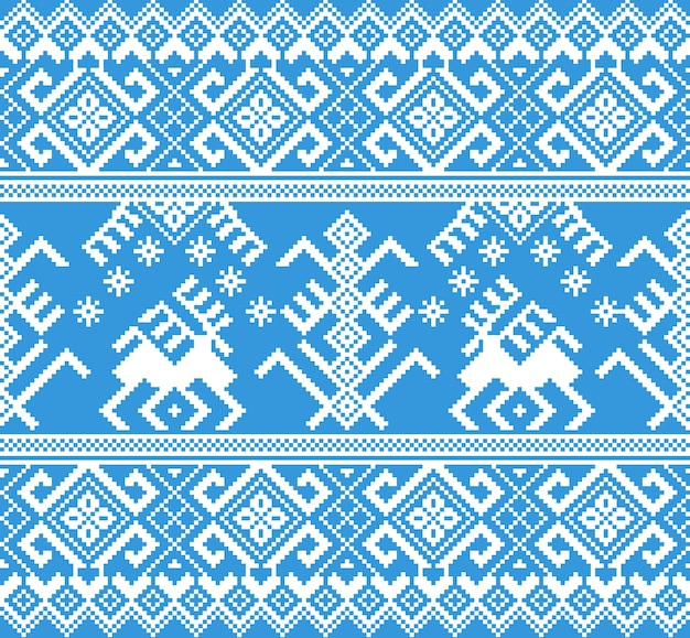Vector illustration of folk seamless pattern ornament. ethnic new year blue ornament with pine trees and deers. cool ethnic border element