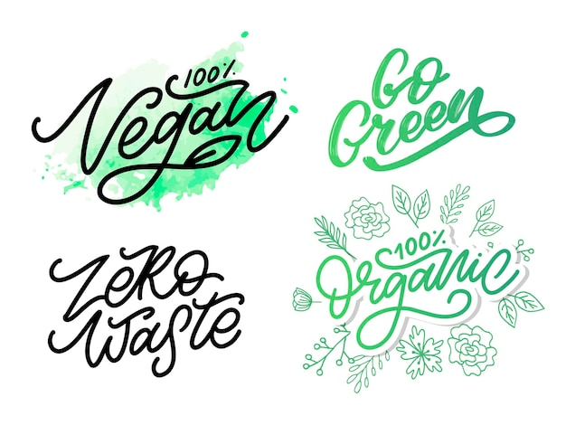 Vector illustration, food design. handwritten lettering for restaurant, cafe menu. vector elements for labels, logos, badges, stickers or icons. calligraphic and typographic collection. vegan menu