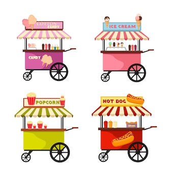 Vector illustration of food truck icon designs.