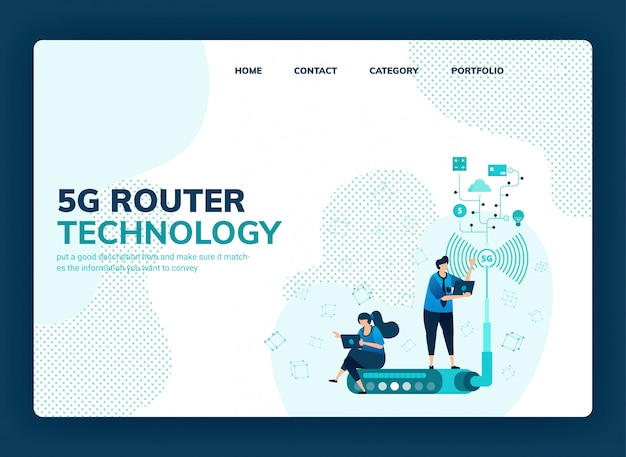 Векторная иллюстрация для маршрутизатора 5g и технологии для увеличения скорости сети