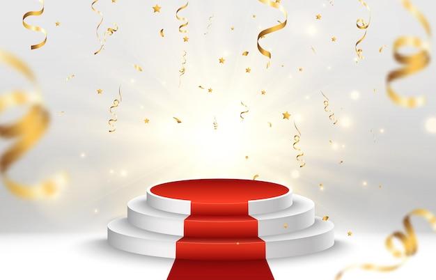 Векторная иллюстрация для лауреатов премии пьедестал или платформа для чествования победителей