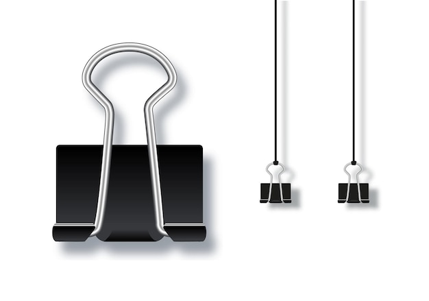 Векторная иллюстрация для черной металлической скрепки, изолированные на белом фоне