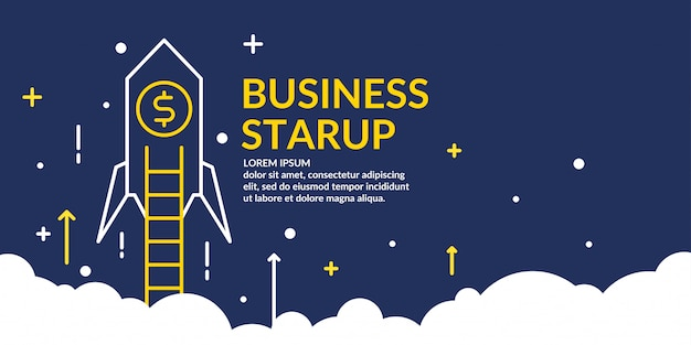 高騰するロケットでのビジネスのスタートアップのベクトルイラスト。
