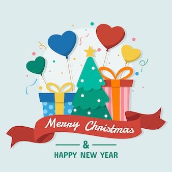 お祝いメリークリスマスと新年あけましておめでとうございますのコンセプトのベクトルイラスト。 eps10ベクトル。