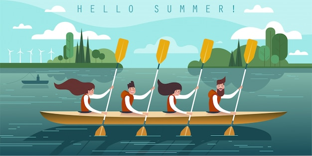 Vector illustration of four young rowers.