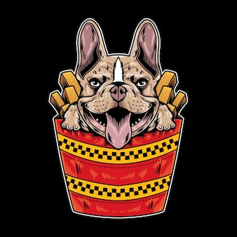 Vector illustration of french bulldog with funny fast food cartoon style in black background
