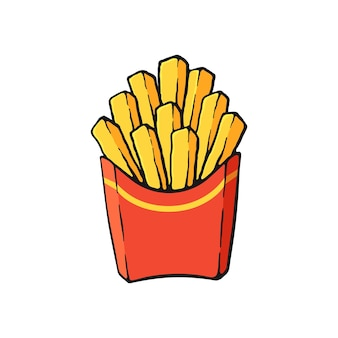 Vector illustration french fries in a paper red pack fried potatoes image with outline