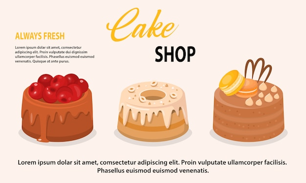 Vector illustration of fresh cakes set